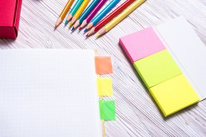 Set of stationary with notebook and