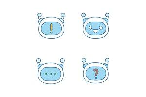 Robot emojis color icons set