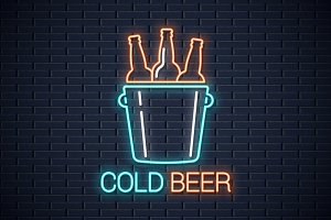 Cold beer neon banner. Beer bottles