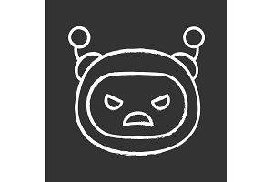 Angry robot emoji chalk icon