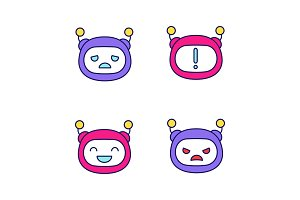 Robot emojis color icons set