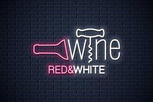 Wine neon banner. Wine bottle.