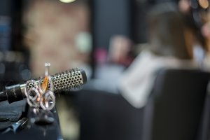 Closeup of hairdresser tools ( selec