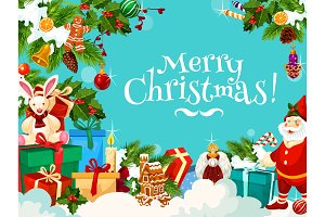Merry Christmas greetings with gifts