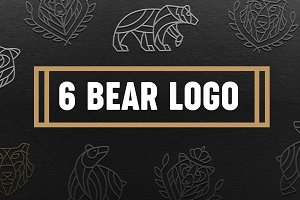 Set of 6 bear logos