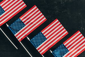 top view of arranged american flags