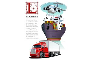 Vector set cartoon cargo transport