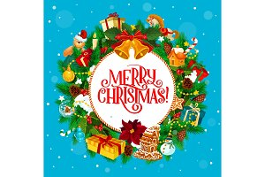 Round greeting with Christmas wishes
