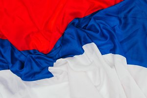 close up view of folded russian flag