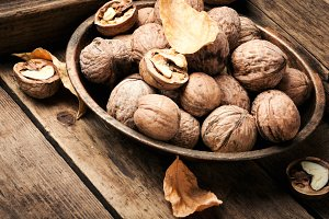Walnuts on a wooden table