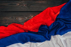 close up view of russian flag on dar