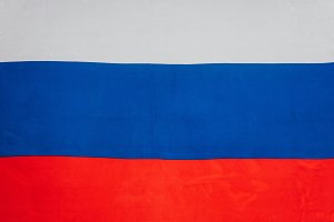 close up view of russian flag backgr
