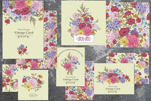 Vintage Bouquet. Floral Card Set.