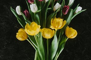 top view of bouquet with tulips on b
