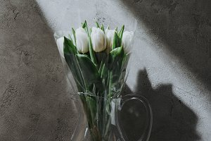 white spring tulips in glass jug on