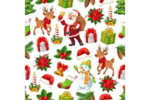 Christmas Santa, gift and snowman