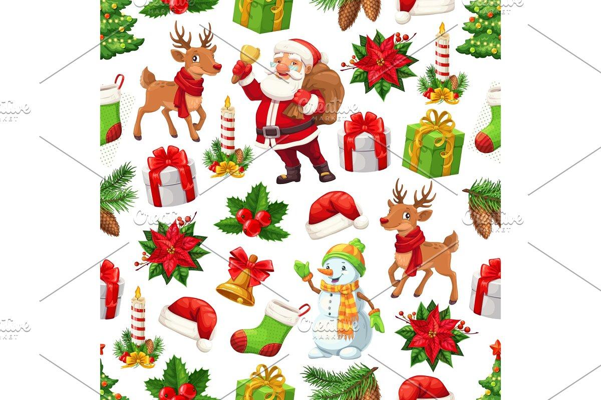 Christmas Santa Gift And Snowman