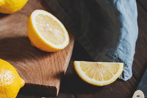 Cutting lemon wedges