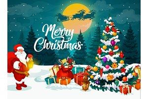 Santa, Christmas tree and gifts