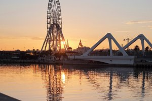Ferris wheel on sunset