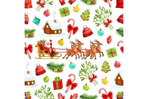 Christmas, Santa seamless pattern
