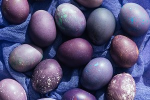 close up view of easter eggs on gauz