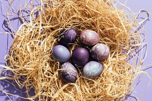 top view of purple easter eggs in st