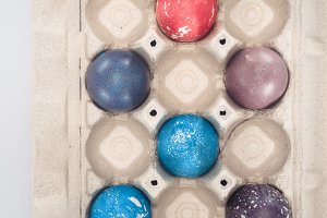 top view of painted easter eggs in t