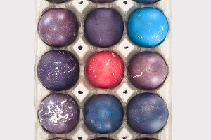 top view of colorful easter eggs in