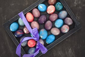 top view of easter eggs in gift box