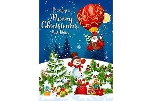 Santa flying on air balloon