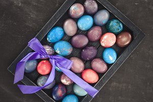 top view of traditional easter eggs