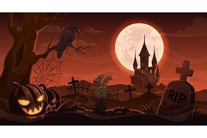 Halloween zombie hand on cemetery