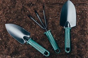 top view of small gardening tools on