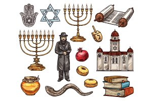 Judaism religion symbols, sketch