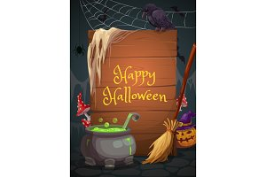Halloween witch cave and cauldron