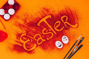 top view of easter sign made of red