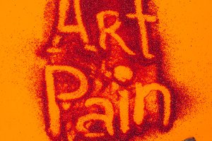 top view of art pain sign made of re