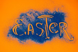 top view of easter sign made of blue
