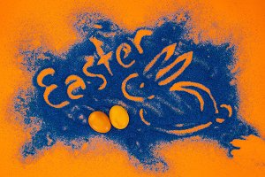top view of easter sign with rabbit