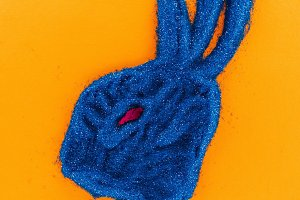 top view of easter bunny made of blu