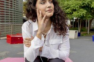 Pensive happy woman remembering look