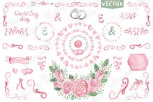 Watercolor vector.Pink wedding set 1