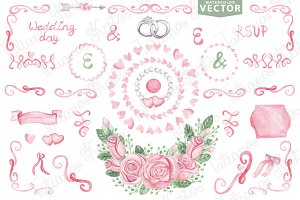 Watercolor vector.Pink wedding set 1