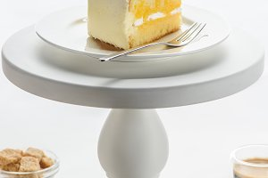 piece of pie with fork on white cake