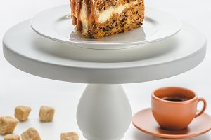 piece of delicious caramel cake on w