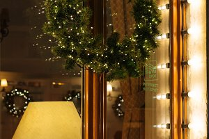 Christmas pine wreath decorated with