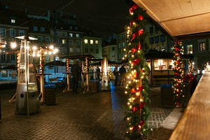 European Christmas market, food stal