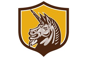 Unicorn Horse Head Side Crest Retro