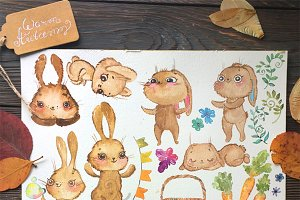 Watercolor bunny funny! Cute animals